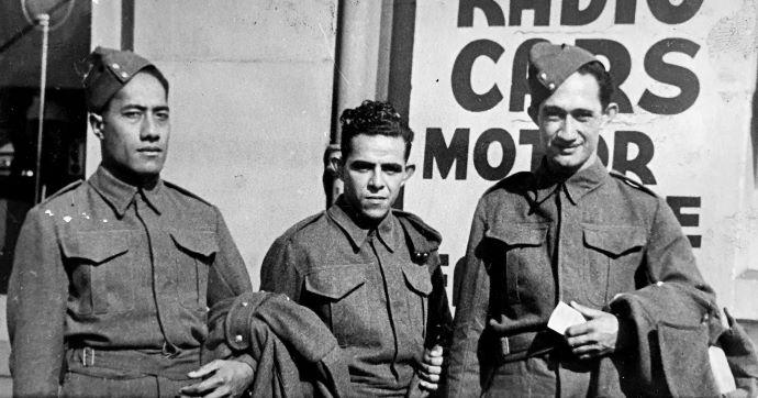 Tongan soldier Meanata Snr with 'AlekiLeger and Manoel Santos. Photo: Supplied
