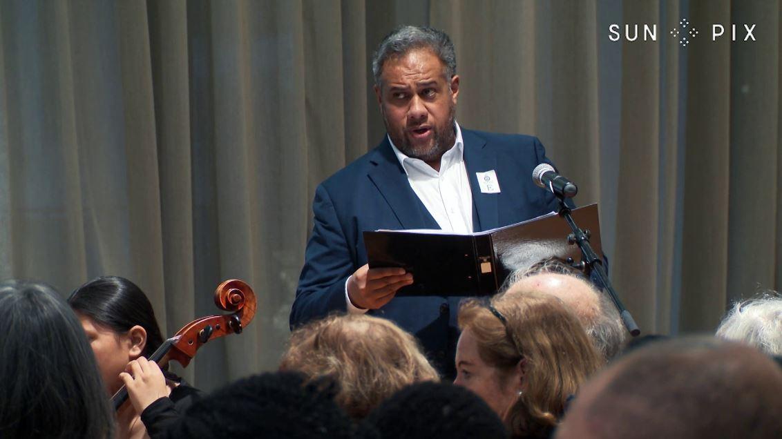 Jonathan Lemalu with Virtuoso Strings at NZ Parliament