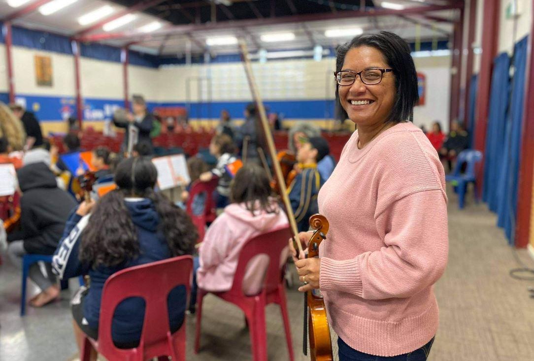 MP Barbara Edmonds with Virtuoso Strings. Photo: John Pulu, Tagata Pasifika