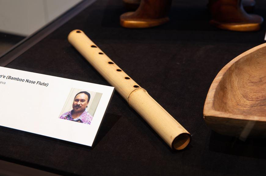 Bamboo Nose Flute on display at Te Mekameka o taku Ipukarea: The Treasures of my Homeland. Photo: Auckland Museum