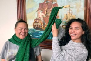 Reporter Alice Lolohea with her almost complete scarf. Photo: Supplied