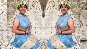 Cora-Allan Wickliffe in her Karo Pintuck Dress - Tapa from Tiale Collection. Photo: Supplied