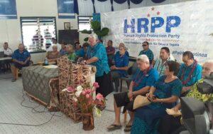 Samoa's outgoing prime minister Tuilaepa Sailele Malielegaoi supporting HRPP members. Photo: Supplied
