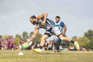 nz tag Former Warriors player Wairangi Koopu scores for the Central Knights 30s Men's team. Photo: Supplied